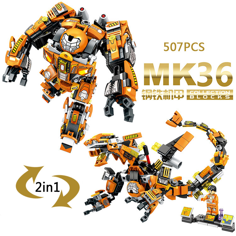 Marvel super heroes Ironman MK36 armor 2 change style dragon building block Mark36 Peacemaker figures compatible with lepine toy  цена и фото