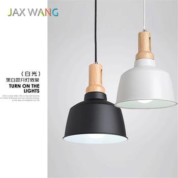 Nordic Simple loft Led Restaurant Pendant Lamp Wooden Adjustable Pendant Light for Living Room Bedroom Bar Lighting Hanging Lamp