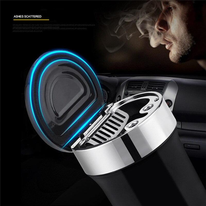 Acessórios do carro universal cinzeiro carro bússola com luz led de aço inoxidável criativo cinzeiro retardador chama xnc