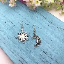 Zinc Alloy Ancient Silver Moon Sun Dangle Drop Earrings Pagan Jewellery Earrings Fashion Women Jewelry Valentine's Day Present