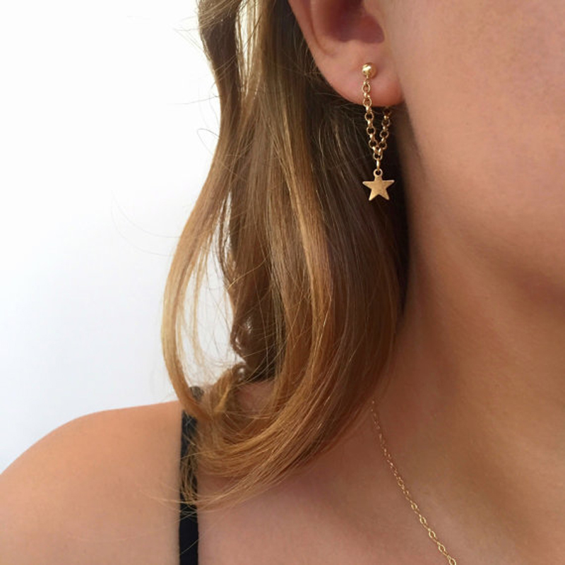 Tocona Trendy Star Charm Stud Earrings for Women Punk Gold Color Chain Alloy Earrings Brincos Jewelry
