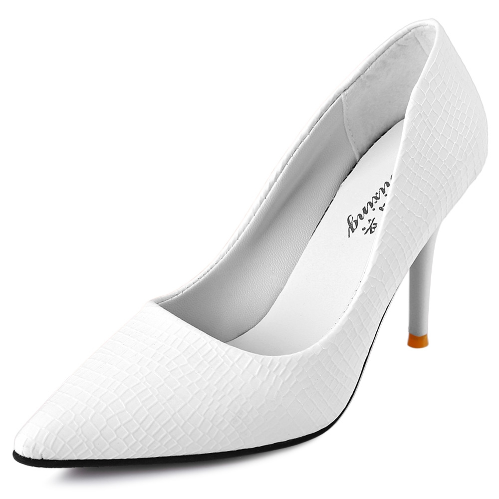 5 Solid Color Women UV Plaid PU Leather High Heels Shoes Sexy Pointed Toe Spring Pumps Ladies Party Weeding Thin Heel