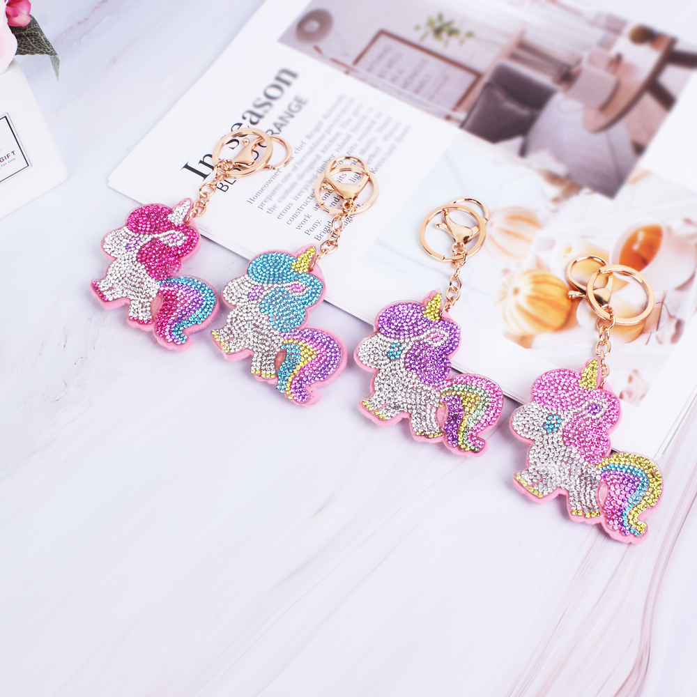 Fashion Multi Color Rhinestone Unicorn Charm Key Chains For Bag Ornament Keys Flannelette Key Chain For Women Men Accessory