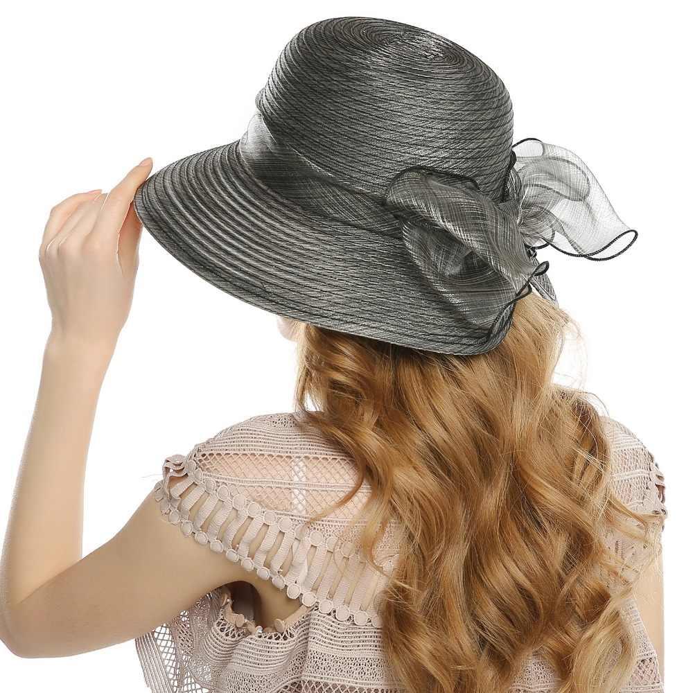 8731579a ... WELROG Elegant Fashion Women's Church Hats For Women Big Bow Flower Summer  Sun Protect Hat Wedding ...