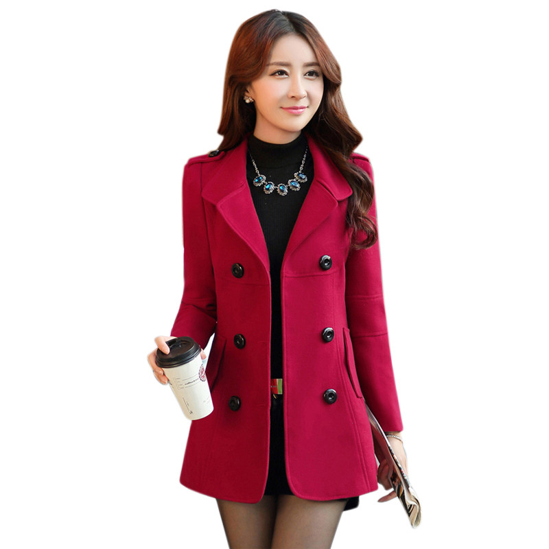 2016 Women Fall and Winter Lapel Wool Coat Fashion Long ...
