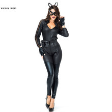 fd00ae2e81b Faux leather Sexy Female Catwoman Cosplays Woman Halloween Black Cat Girl  Animal Costumes Nightclub Bar party