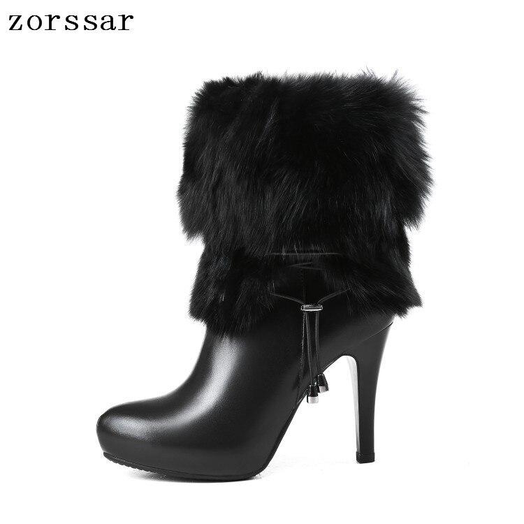7d6f5a2c Las Plataforma Cuero Tacones {zorssar} Beige Para Cálido Botas De Tacón  Invierno Tobillo Marca Mujer Natural Zapatos Mujeres Alto Nieve negro ...