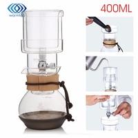 Nova Percolators Água Ampulheta De Vidro Pote de Café 400 ml Bebida Fria Filtros de Café do Gotejamento de Gelo Cozinha de Casa de Vidro Para 2 copos