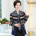 XL-4XL Long Woolen Coat Women Autumn Middle-aged Female Thin Coats New O-neck Striped Jacket Casual Spring J373