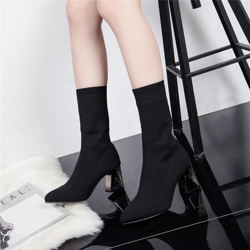 Zapatos De Mujeres Las Glitter Ladies Negro Punto Elasticidad En Tacones Calcetín Medio Botas Black Mujer Media Gruesos Pantorrilla rr5YdwEqxI