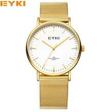 EYKI Unisex Originales De Marca Pulsera de Malla de Acero Inoxidable de Moda de Lujo de Japón Del Reloj de Cuarzo Reloj de Oro para Los Hombres de Las Mujeres