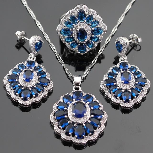 Flor Azul Imitado Sapphire Color Plata Sistemas de La Joyería Para Las Mujeres Pendientes de Gota/Collar/Anillo/Pendiente de Caja Libre