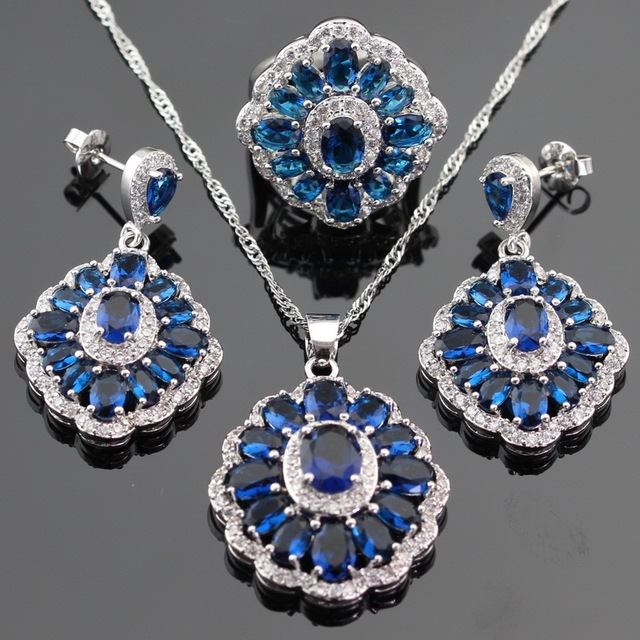 Flower Blue Imitated Sapphire Silver Color Jewelry Sets For Women Drop Earrings/Necklace/Ring/Pendant Free Box