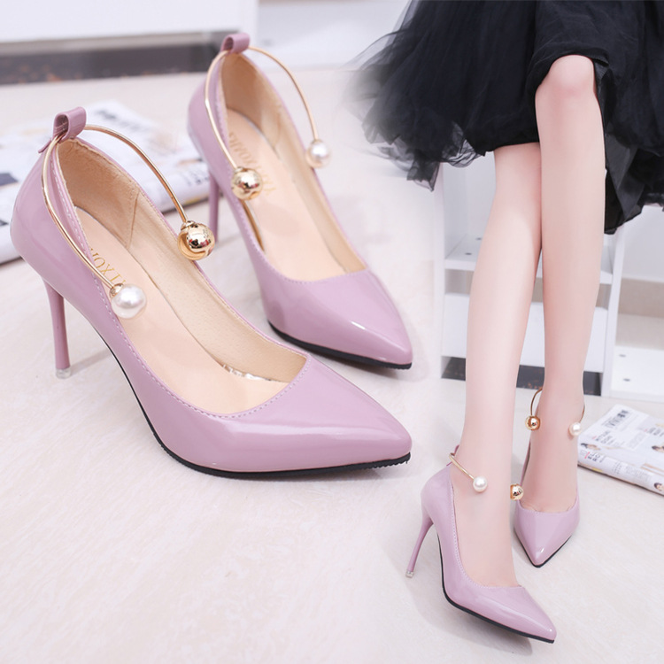 Koovan Women Pumps 2017 Spring New Shallow Mouth Pointed Shoes Heel Pearl Buckle With High-heeled Ladies Shoes koovan women pumps 2017 pointed high heeled shoes pink pearls wild night clubs single buckle women s sandals ladies summer