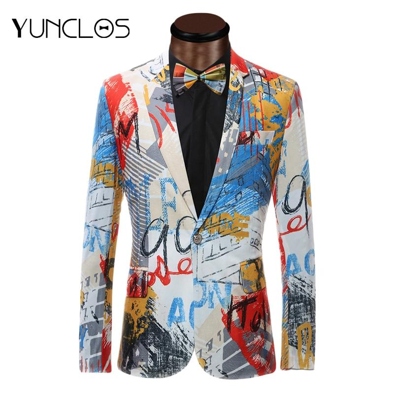 YUNCLOS New Design Men Suit Jacket With Bowtie Fashion Printed Jacket Blazes Homme Marriage Masculino Best Men's Blazer Plus 6XL