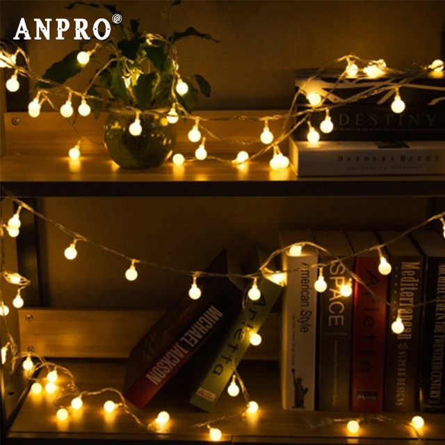 Anpro LED String Lights 1.5M 3M 6M Cherry Balls Fairy Garland Lights Battery Operated Wedding Christmas Outdoor Decoration