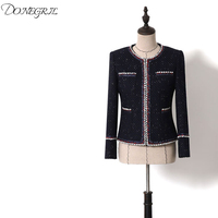 High Quality 2019 Runway Designer Luxury Fashion Tweed Basic Jacket Suits O Neck Black Front Pockets With Pearls Coat
