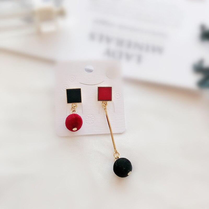 Ajojewel Simple Acrylic Geometric Earrings Women Velvet Ball Asymmetrical Earrings Jewellery Wholesale 5