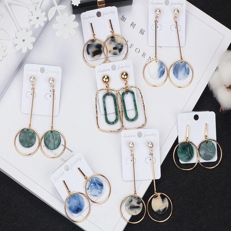 New Acrylic Drop Earrings Simple Trend Pattern Fashion Long Women Earrings Alloy Jewelry