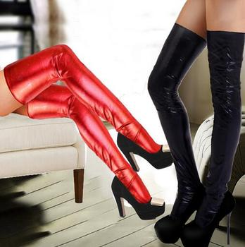 Kobiety seksowne skórzane pończochy bielizna elastyczna przezroczysty czarny czerwony rajstopy pończochy pończosznicze Retro Stocking + t-back