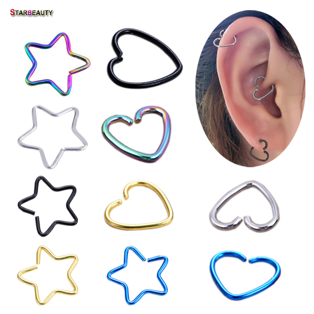 529721472 5 pcs/lot Star Heart Ear Tragus Piercing Helix Piercing Cartilage Earrings  Pircing Fake Nose Ring Daith Piercing Oreja Jewelry