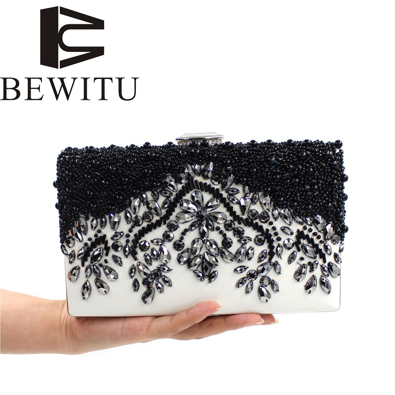 Fashion black beads pearl dinner bag leather beads embroidery women's hand-held package diamond diagonal cross-flow package карабин black diamond black diamond rocklock twistlock
