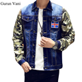 Camuflaje manga de empalme para hombre marca chaqueta de mezclilla de algodón para hombre casual chaqueta de abrigo azul oscuro masculino mens clothing moda 823