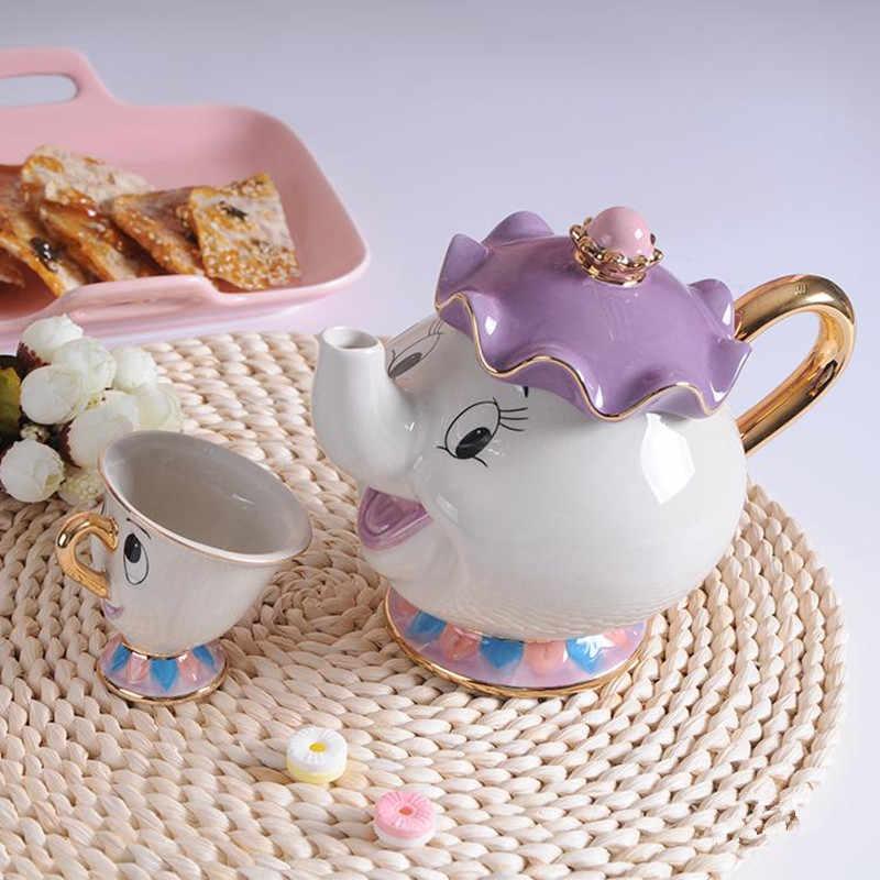 ใหม่การ์ตูนความงามและ Beast กาน้ำชาแก้ว MRS Potts Chip นาฬิกา Cogsworth หม้อชาถ้วยหนึ่งชุดของขวัญน่ารัก FAST POST