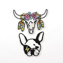 Cute Cartoon Animal Dog Cow Pattern Embroidered Applique Patches For DIY Iron-on Patch Stickers Clothes Decorative Accessories(China)