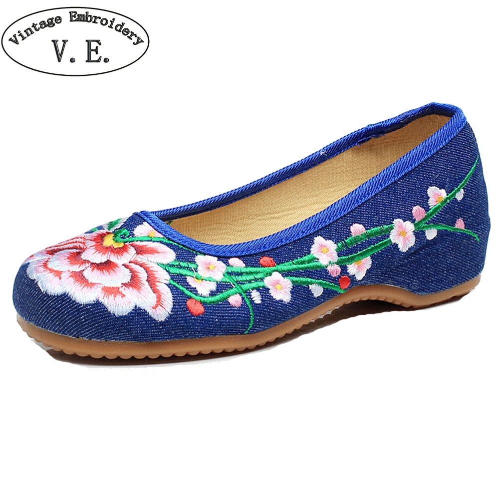 Women Flats Chinese Retro Floral Embroidery Cloth Shoes Old Beijing Canvas Slip On Dance Ballet Shoes Woman Plus Size 41 chinese women flats shoes flowers casual embroidery soft sole cloth dance ballet flat shoes woman breathable zapatos mujer