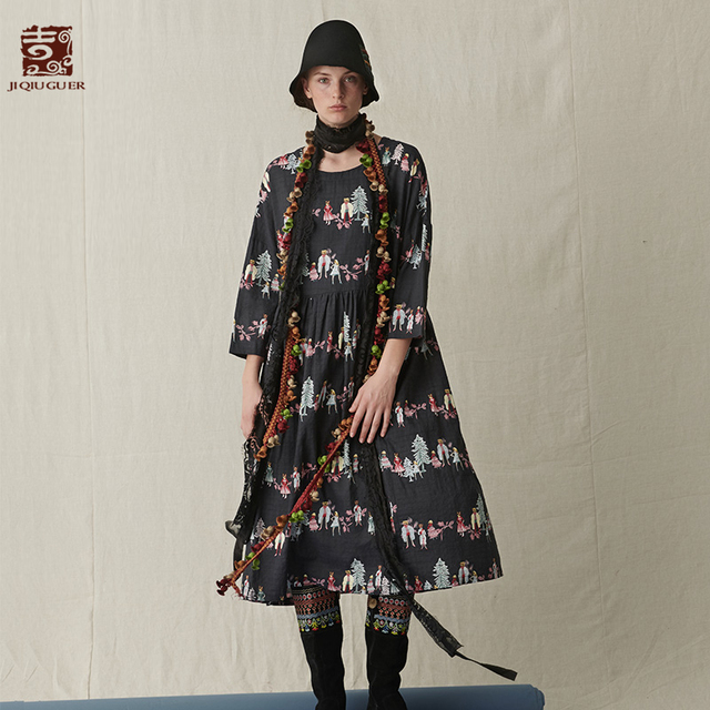 Jiqiuguer Women Autumn Casual Floral Vestidos Print O Neck Plus Wrinkle Texture Pullover Wrist Mid Calf Loose Dresses G183Y005