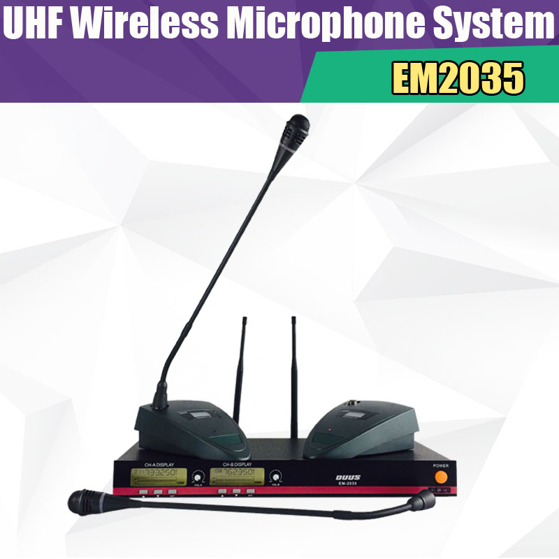 Hight Quality  EM2035 Wireless Meeting Microphone Professional UHF Channel Double Mic for Radio Speech/Free Shipping dhl shipping atg100 portable mini meeting tourism teach microphone wireless tour guide system 1transmitter 15 receivers charger