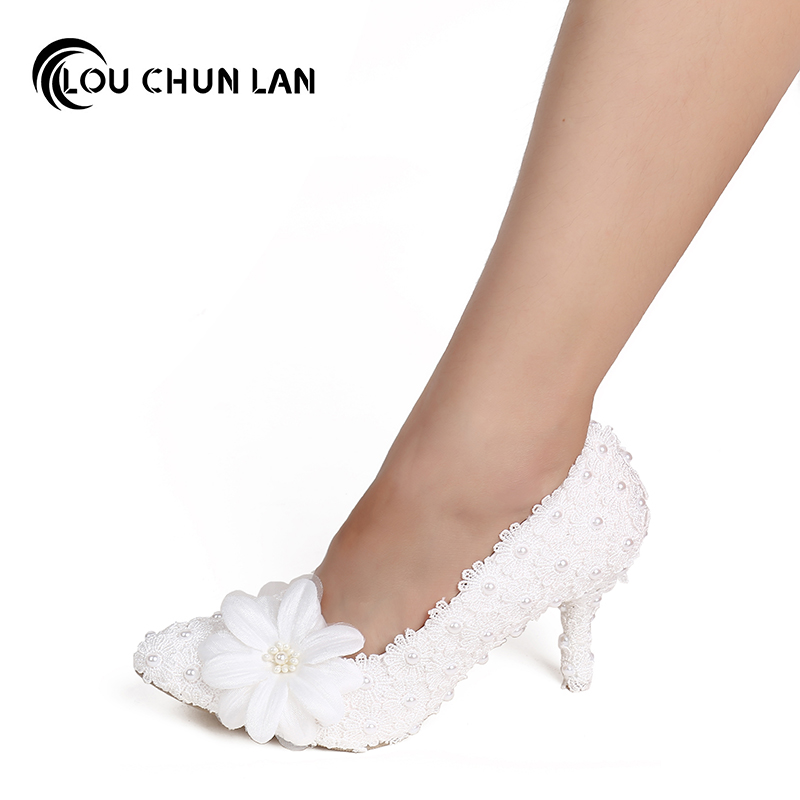 Shoes Women's Shoes Pumps Wedding Shoes Elegant White lace flower Bridal Shoes Pointed Toe High Heels large size 40 53
