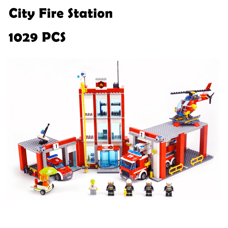 Model Building Blocks toys 02052 1029pcs City Fire Station compatible with lego city Series 60110 Educational DIY toys & hobbies 0367 sluban 678pcs city series international airport model building blocks enlighten figure toys for children compatible legoe