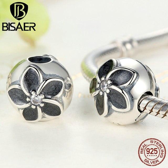 14187fa12 PANDORA Mystic Floral Clip, Clear CZ Black Enamel 925 Sterling Silver Mystic  Floral Clip Black Enamel Flower Stopper Beads fit PAN Charm Bracelet  Sterling ...