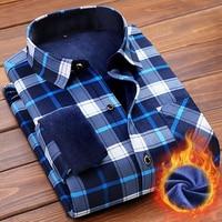 T Bird 2107 Brand Men Shirt Dress Long Sleeve Plaid Casual Shirt With Thick Velvet Winter