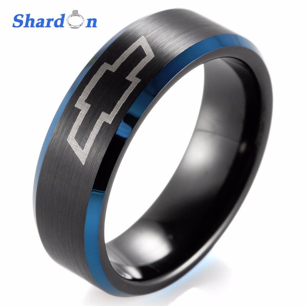 Shardon 8mm negro biselado azul de dos tonos de carburo de tungsteno anillo láser Chevy Chevrolet Corvette diseño anillo de compromiso para hombres