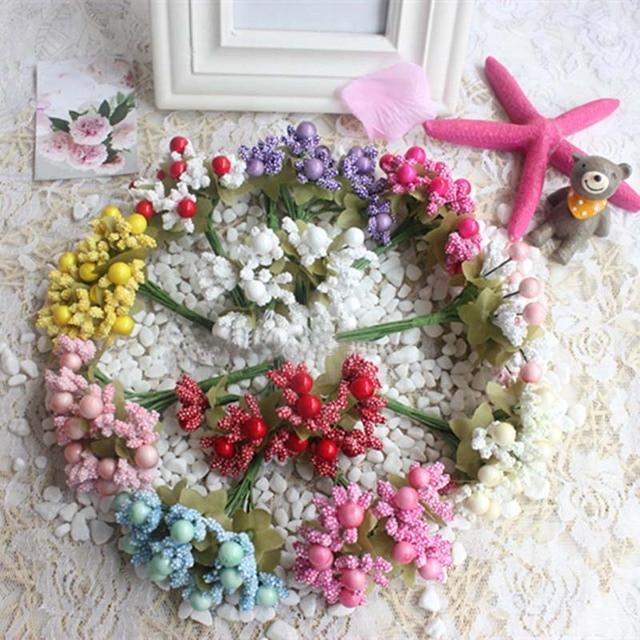 120pcs Artificial Baby S Breath Fake Mini Foam Fruit Bouquet Flower