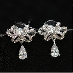 Anenjery 925 пробы серебряные ювелирные изделия блестящие CZ Циркон Бант Серьги гвоздики pendientes boucles d'oreuilles S-E349