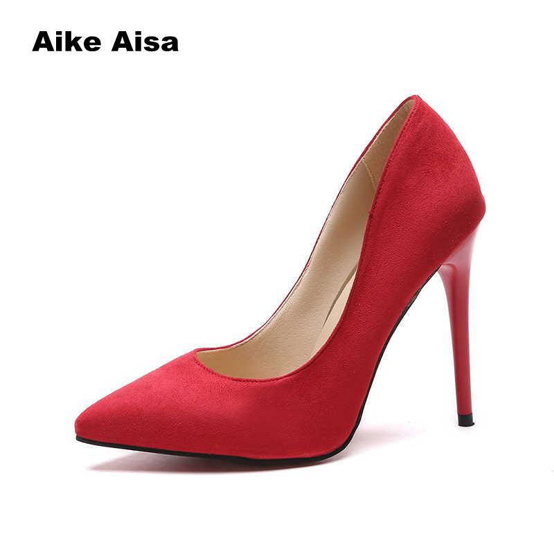 Plus Size 44 Pumps Women Shoes Red Flock Slip-On Shallow Wedding Party Pointed Toe High Heels Pump Chaussures Femme 2019 new women pumps shoes women pu leather shallow slip on round toe high heels wedding party derss shoes mujer plus size 34 42 w231