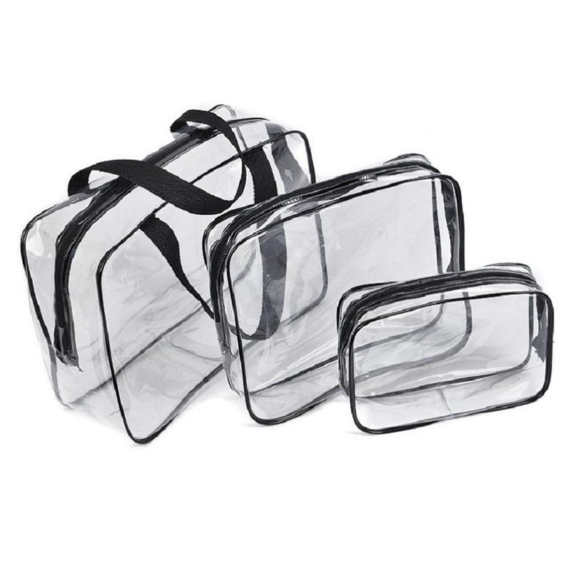 Transparent Waterproof Swimming Bags Sports Travel Bathing Storage Bag Zipper Clear PVC Organizer Phone Pocket