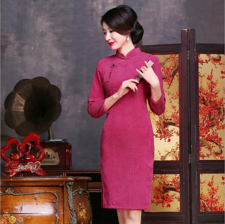 9f5f0d5b1e63 Spring and autumn corduroy dress chi pao Women s Cheongsam party Dresses  Evening Dress vestidos Size S M L XL XXL XXXL 5colors-in Cheongsams from  Novelty ...