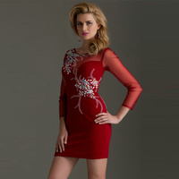 Red Beading Crystal Long Sleeves Sheath Prom Dress 2015 New Graceful Short Shining Party Gown With