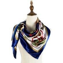 print scarf 90cm silk square belts chains patterns european neck shawls femme mujer invierno women