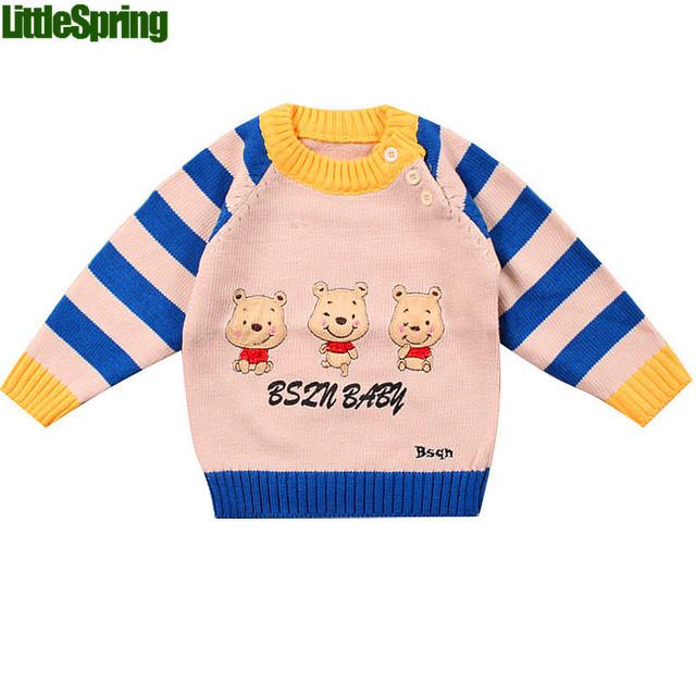 Littlespring XLS inverno tops de crianças crianças camisola dos desenhos animados urso bonito listrado outerwear