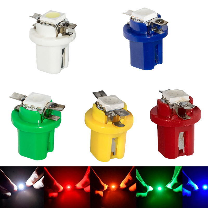 50 Pcs <font><b>T5</b></font> B8.5D <font><b>LED</b></font> Lamps <font><b>5050</b></font> Chip 1 <font><b>SMD</b></font> Car Dashboard Instrument Light Bulb 12v Blue Yellow Red Green White Each Of 10 image