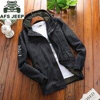 AFS JEEP Brand Clothing Mens Hooded Collar Fashion Outwear Denim Jackets Coat Plus Size 3XL 4XL