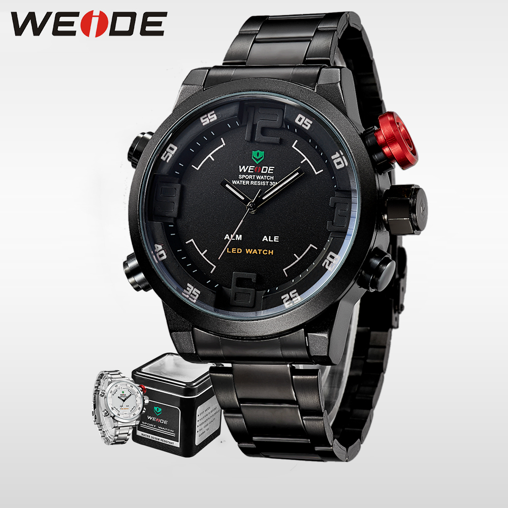 WEIDE  luxury quartz watches fashion casual stainless steel date sport digital led automatic man watch 2017 new alarm clock 2309 weide luxury men quartz watch stainless steel date digital led round big dial sport water resistant watches automatic self wind