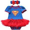 Azul Superman Trajes Lace Petti Romper Do Bebê Vestido De Aniversário Roupas Bebe Roupas Macacão Macacão de Bebê Recém-nascido Roupas de Menina Infantil