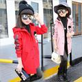 2016 Winter Children Jackets Baby Girls Trench Princess Jackets Kids Coats for Girl Hooded Jackets Velvet Warm Outerwear Clothes